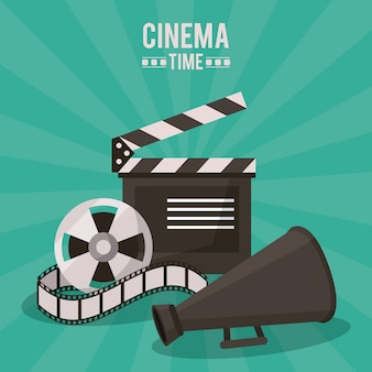 Cinema time with clapperboard and film reel and megaphone