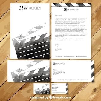 Cinema watercolor visit card set Free Vector