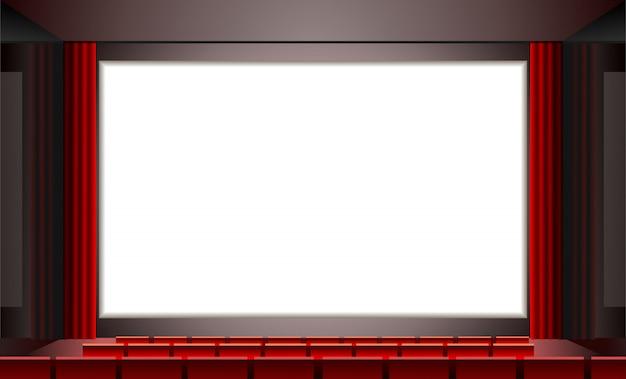 Кино с пустым белым экраном, иллюстрация