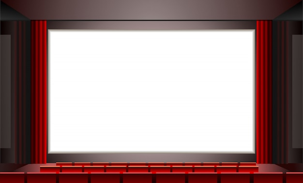 Cinema whith emty white screen,  illustration