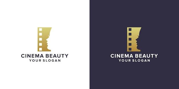 Cinema with beauty face logo design