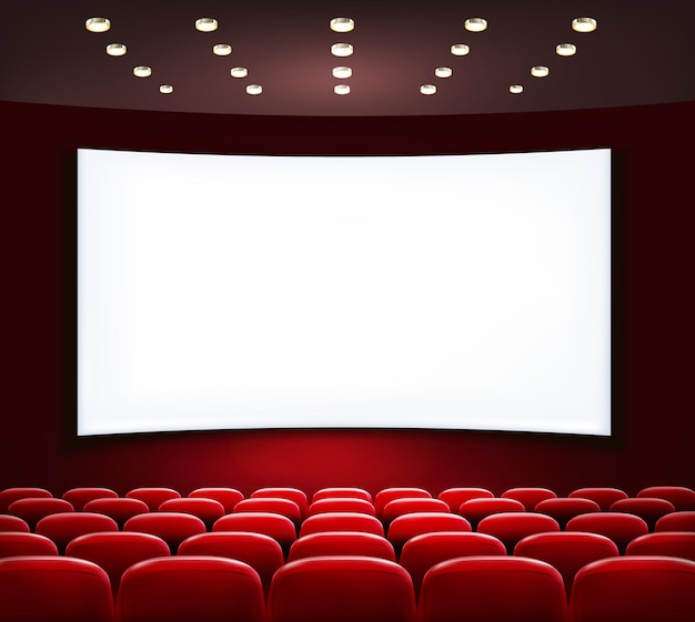 Cinema with white screen and seats.