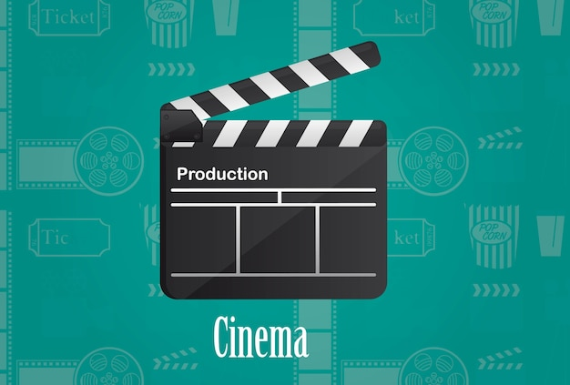 Cinema wood board over aqua marine background