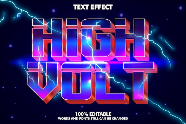 Cinematic editable text effect electrical text effect with 80s retro style