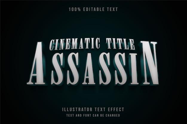 영화 제목 암살자, 3d 편집 가능한 텍스트 효과 녹색 그라데이션 텍스트 스타일