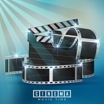 Cinematograph concept background design with film reel and clapper