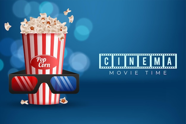 Cinematograph concept background design with popcorn and 3d glasses