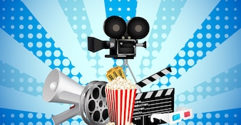 Cinematograph in cinema films and popcorn