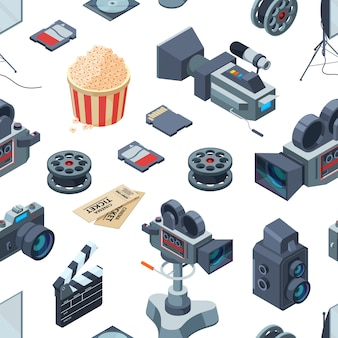 Cinematograph isometric elements pattern or illustration