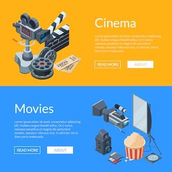 Cinematograph isometric elements web banner