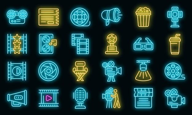 Cinematographer icons set vector neon