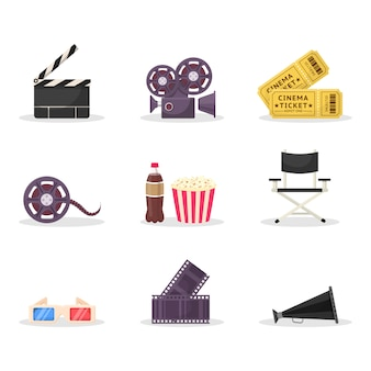 Cinematography items illustrations set