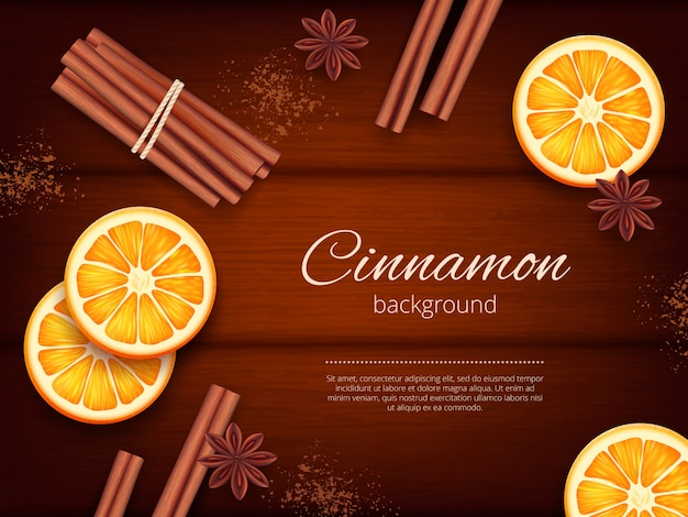 Cinnamon background. advertizing pictures of herbs and species fresh aromatic cinnamon template