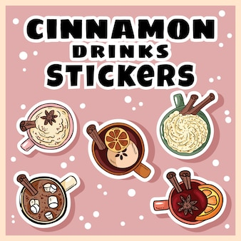 Cinnamon drinks set of stickers. hand drawn cartoon cute mulled wine and cacao cinnamon drinks