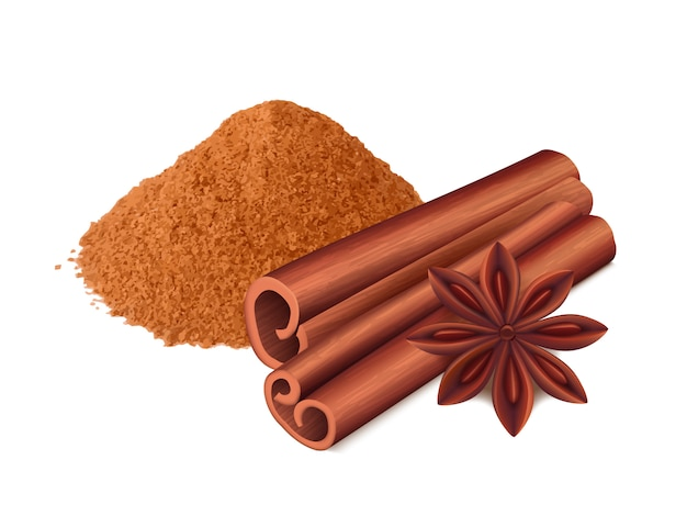 Cinnamon food. spice sticks and leaf cooking collection aromatic cinnamon realistic