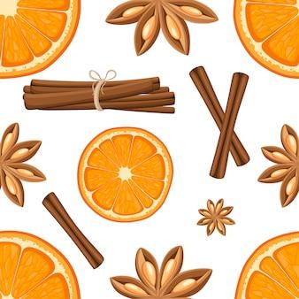 シナモンスティック、スターアニス、オレンジのスライス。白い背景の上の図。シームレスなイラスト。