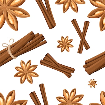 Cinnamon stick, star anise, anise and cardamom .  icons on white background. seamless illustration.