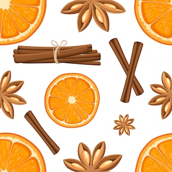Cinnamon stick, star anise and slices of oranges.  illustration on white background. seamless illustration.