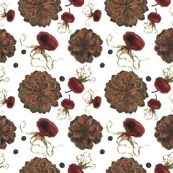 Cinnamon watercolor seamless pattern