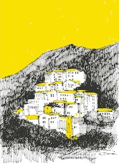 Чинкве-терре рисованной. традиционная средиземноморская горная деревня.