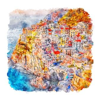 Чинкве-терре италия акварельный эскиз рисованной иллюстрации