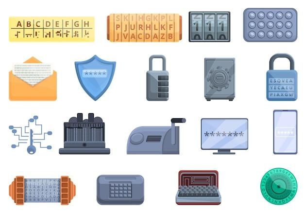 Набор иконок шифр. мультфильм набор иконок шифр