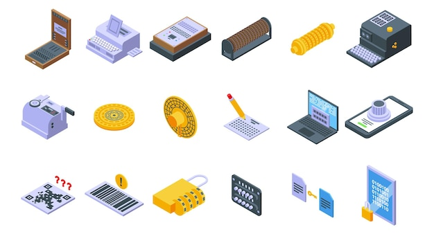 Cipher icons set. isometric set of cipher vector icons for web design isolated on white background