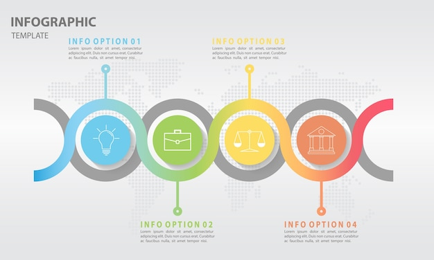 Circle 4オプション付き抽象的なタイムラインインフォグラフィック