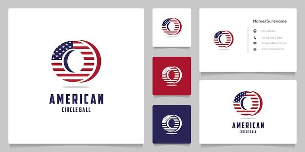 Circle american flag patriotic logo design illustrations