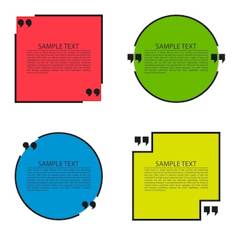 円と四角の引用テキストバブルテンプレート引用フォーム引用空白のテンプレート引用のセット