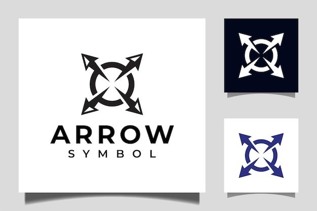 Circle arrow target icon vector. arrowhead spear for arrow hunting vintage logo design