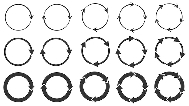 Circle arrows. round reload or repeat icon, rotate arrow and spinning loading symbol.