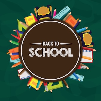 Circle back to school vector background
