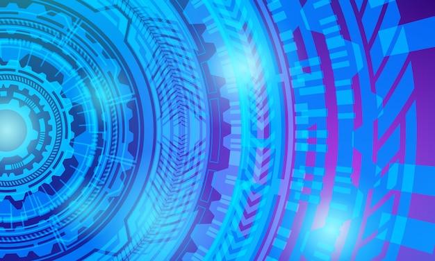 サークルバックグラウンドラジアルテクノロジーの未来的なデジタル回路