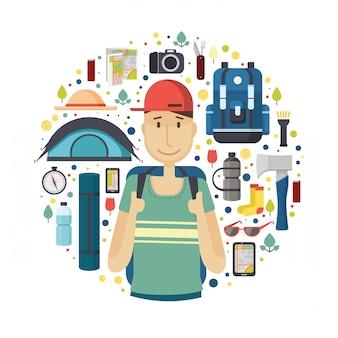 Баннер круга с мальчиком туристом. молодой улыбающийся мужчина - путешественник с выкройкой вещей для туризма и путешествий. иконы рюкзака, фанатика, карты, смартфона и камеры. ,