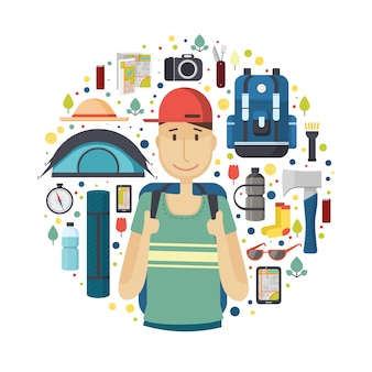 Circle banner with boy tourist.  young smile man is a traveler with a pattern of things for tourism and travel. icons of  backpack, fanatic, map, smartphone and camera. .