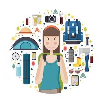 Баннер в круг с девушкой-туристкой. молодая улыбающаяся женщина - путешественница с выкройкой вещей для туризма и путешествий. иконы рюкзака, фанатика, карты, смартфона и камеры.