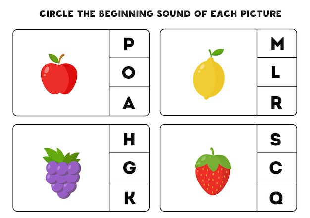 Circle the beginning sound of each picture. educational game for kids.