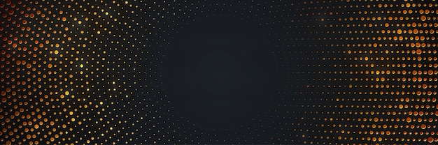 Circle black background with shining golden halftone.