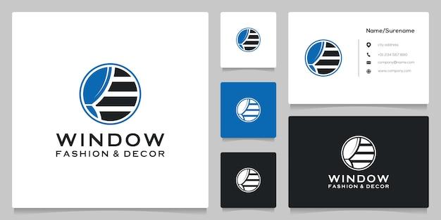 명함이 있는 원형 블라인드 창 커튼 가구 로고 디자인 장식