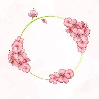 Circle botanical design frame
