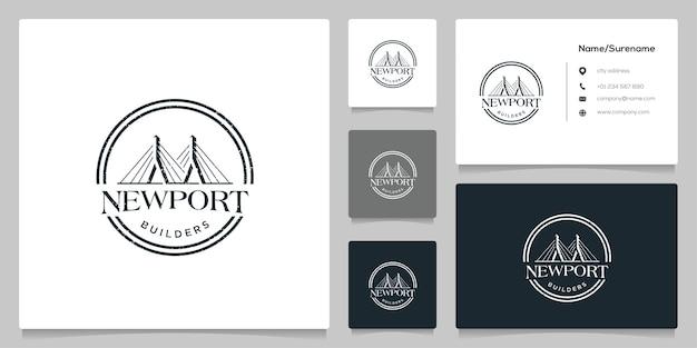 名刺とサークル橋の建物のサスペンションデザイングラフィック建設
