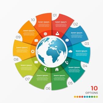 프레젠테이션, 광고, 레이아웃, 연례 보고서, 웹 디자인을 위한 글로브 10 옵션이 있는 원형 차트 infographic 템플릿입니다.