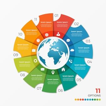프레젠테이션, 광고, 레이아웃, 연례 보고서, 웹 디자인을 위한 글로브 11 옵션이 있는 원형 차트 infographic 템플릿입니다.