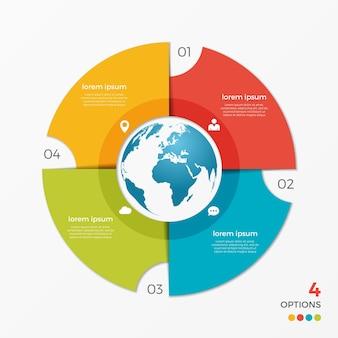 프레젠테이션, 광고, 레이아웃, 연례 보고서, 웹 디자인을 위한 글로브 4 옵션이 있는 원형 차트 인포그래픽 템플릿입니다.