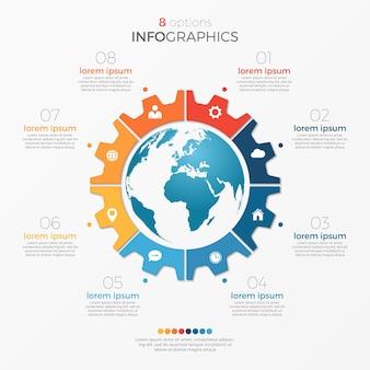 프레젠테이션, 광고, 레이아웃, 연례 보고서에 대한 글로브 8 옵션이 있는 원형 차트 인포그래픽 템플릿