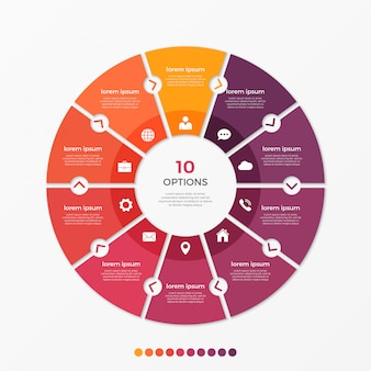 Circle chart infographic template with  options