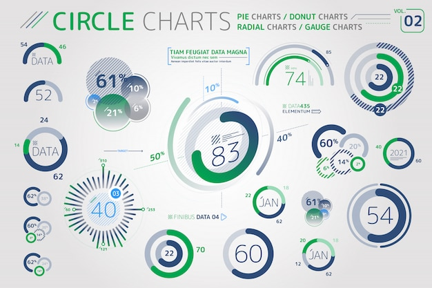 Circle charts, pie charts, donut charts and radial charts infographic elements