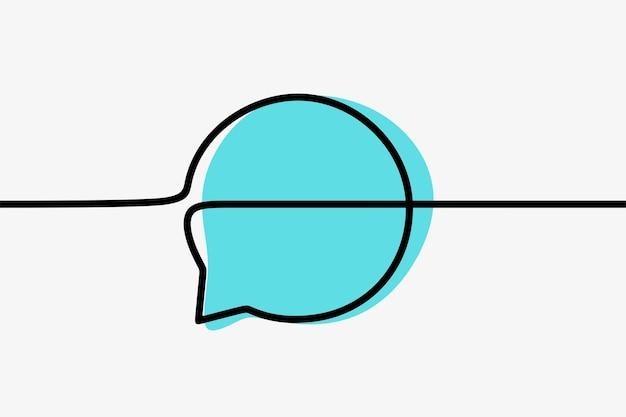 Круг чат окно общение oneline непрерывная линия искусства