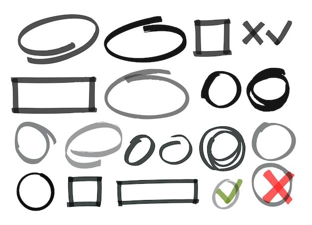 그려진 선을 편집하는 원 체크 표시.